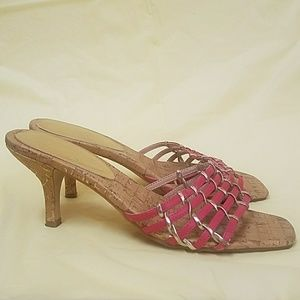 Shoes - Pretty pink and gold heeled sandals EUC